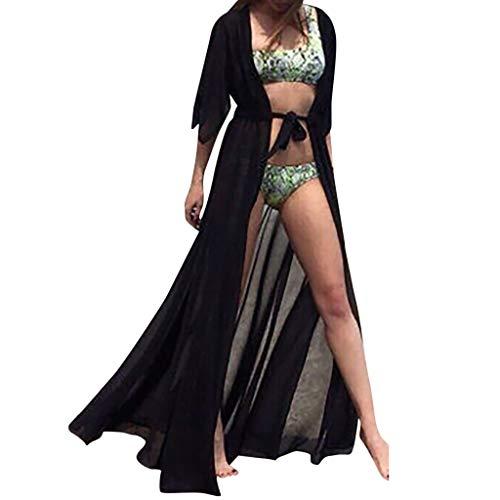 Sannysis Damen Blumendruck Chiffon Kimono Bikini Cover up Maxi Kleid Lang Sommer Boho Chiffon Kimono Stil Gedruckt Tops Jacke Cardigan Blusen Beachwear