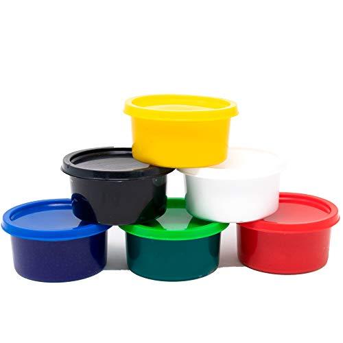 SUDOR Fingerfarben-Set für Kinder, Fingermalfarben-Set mit 6x30 ml elegant und ungiftig Farben für Kinder und Hobbymaler, 6 lebendigen Farben (schwarz, weiß, grün, blau, gelb, rot) (6 Farben)