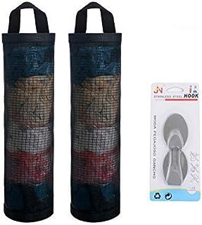 Mesh Garbage Bag Sulimy Plastic Bag Holder Dispensers 2pcs Folding Hanging Storage Bag Trash bags Holder Organizer Recycli...