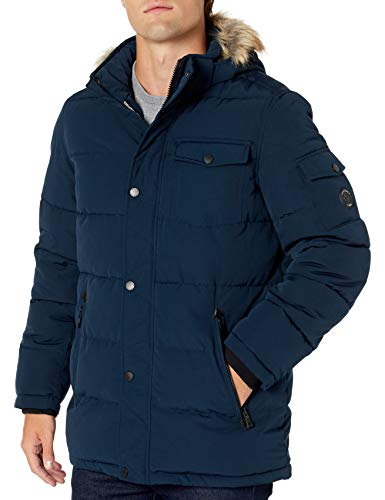 Nautica Men's Quilted Parka Jacket Removable Faux Fur Hood, Navy, Extra Large