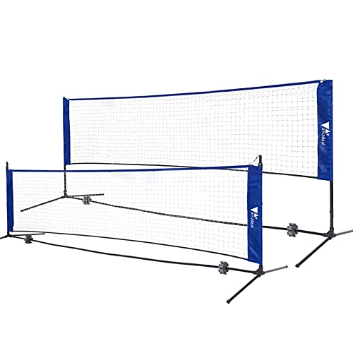 amzdeal Badminton Net,Portable Volleyball and Tennis Net with Adjustable Heights, 17ft /5.1m Foldable Indoor Outdoor Training Net