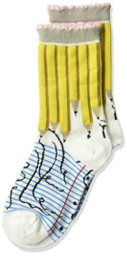 K. Bell Boys' Big Fun Novelty Crew Socks, White (Pencils), Shoe Size: 11-4