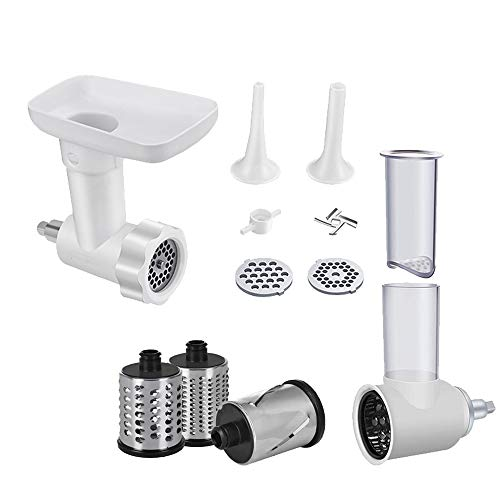 INNOMOON Meat Food Grinder &Slicer Shredder Attachment Pack for KitchenAid Stand mixer, with Sausage Filler Tube, 2 in 1