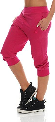 Gennadi Hoppe Damen 3/4 Trainingshose Sporthose Kurze Hose Sport Fitness Jogginghose Shorts Barmuda, pink,M