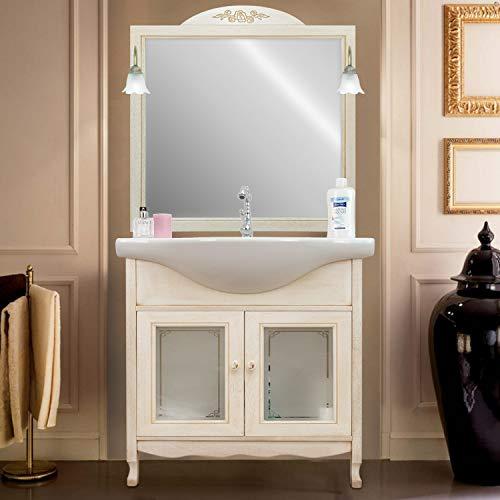 Shop Chic Arredo Bagno 75 Classico Mobile Bagno decapato Specchio Vetro Decorato