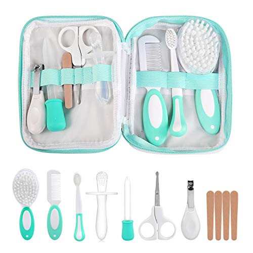 LinStyle Babypflegeset, 8-teiliges Baby Gesundheitsset mit Baby Scissors, Nail File, Nail Clipper, Comb, Hair Brush, Toothbrush, Molar Stick, Medicine Dispenser (Grün)