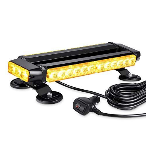 AT-HAIHAN Waterproof 30W Magnetic Rooftop Flashing Amber LED Strobe Light Bar for Trucks Snow Plows Construction Vehicles Safety Warning