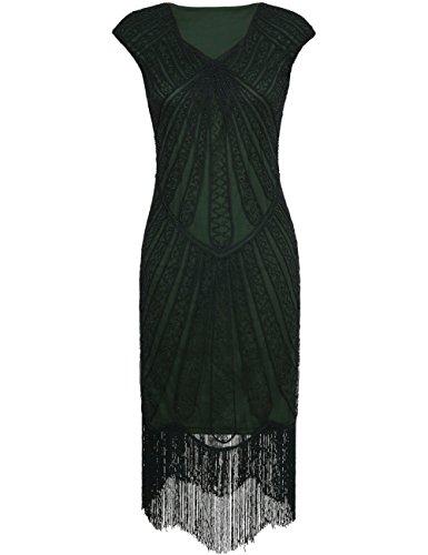 kayamiya Damen Retro 1920er Jahre Inspirert Perlen Art Deco Franse Flapper Kleid M Grün