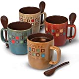 Coffee Cup set by Mr. Coffee Dual Tone Coffee Mugs Set with Spoons Stoneware 14 oz coffee cups  Assorted Designs, 8 pcs set, Cafe Americano