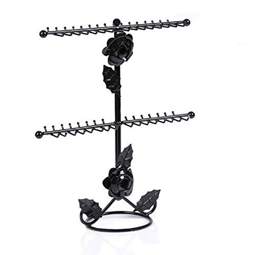 Rose Flower Necklace Display Stand Metal Jewelry Hanger Organizer with Round Base for Necklaces Bracelets(Size:36 * 30 * 10.5Cm),Black