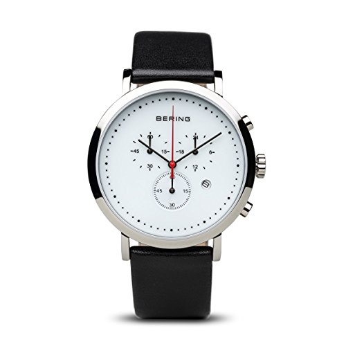 BERING Unisex-Armbanduhr Analog Quarz Leder 10540-404