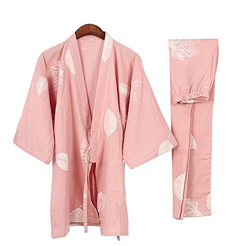 Kylin Express Women's Japanese Style Close-Fitting,Short Sleeves Cotton Kimono Pajamas Suit Dressing Gown Set, N