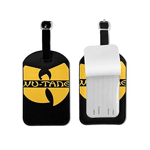 Wu-Tang Clan Etiquetas de equipaje de microfibra de cuero personalizado maleta Tag Set Etiquetas de identificación de equipaje Accesorios de viaje Microfibra PU Cuero 2.7* 4.3 pulgadas