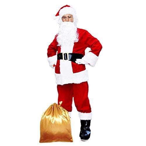 Preisvergleich Produktbild Santa Claus Kostüm Erwachsenen Männlich High End Flocking Weihnachten Cosplay Kostüm, L