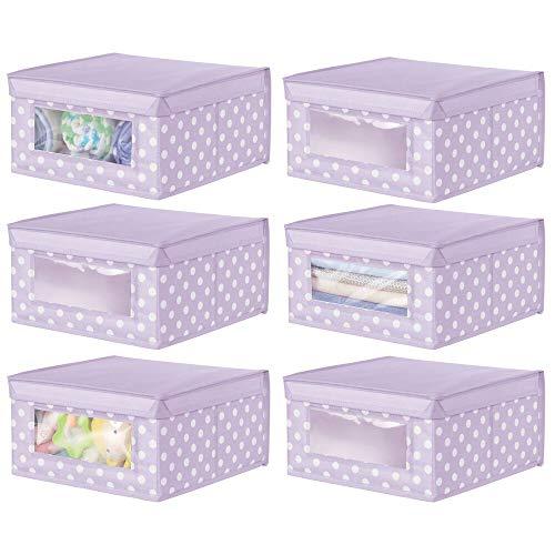 mDesign Juego de 6 Cajas organizadoras de Tela – Caja de almacenaje apilable para ordenar armarios, Ropa o Accesorios de bebé – Organizador de armarios con Tapa y ventanilla – Lila Claro y Blanco