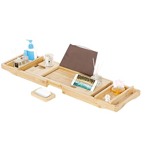 SUPER DEAL Natural Bamboo Bathtub Caddy Tray - Premium Extendable Design Bath and Bed Tray with Waterproof Book Holder and Soap Holder