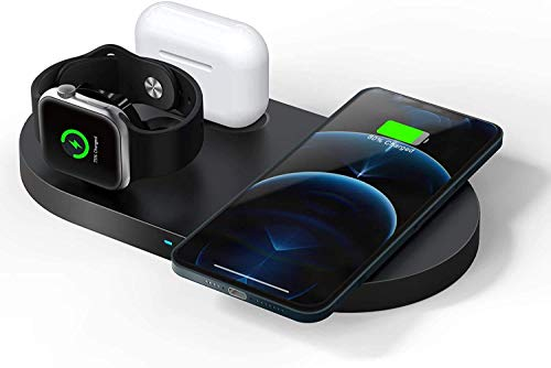 Wireless Charger,23W Schnelles Kabelloses Ladegerät,3 in 1 Qi-Zertifiziert Induktive ladestation für Apple Watch SE/6/5/4/3/2, AirPods Pro,iPhone 12/12 Pro Max/11/11pro/SE 2020/XS/XR/8 (Kein Adapter)
