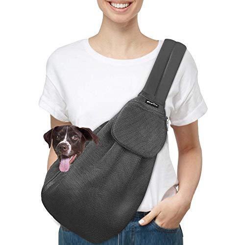 SlowTon Tragetuch Hund, Katze Haustier Hand Schleuderträger Schultertasche Verstellbare Gepolsterte Schultergurt mit Fronttasche hundetragebeutel Metro Outdoor (Gittergewebe-grau)