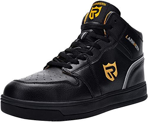 LARNMERN Stahlkappe Sicherheitsschuhe, Herren luftdurchlässige Leichte Anti-Smashing Schuhe Industrie und Handwerk Stiefel (42 EU, Schwarz)