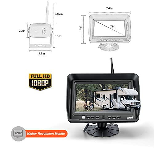 Digital Wireless Backup Camera System Kit, AHD1080P, Wireless Rear View Camera and 7'' LCD Wireless Reversing Monitor for Trailer, RV, Bus, Trucks, Horse-Trailer, School Bus, Farm Machine,etc