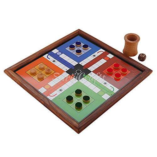 Shriji Crafts Classic Handmade Wooden 2 in 1 Ludo Magnetic Snakes and Ladders Travel Board Game for Kids and Adults Fun Game