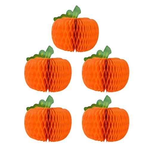 HEALLILY 5pcs Halloween Papier Pompoms Kürbis Form Honeycomb Balls Seidenpapier Blumen Papierkugeln für DIY Basteln Halloween Party Dekoration