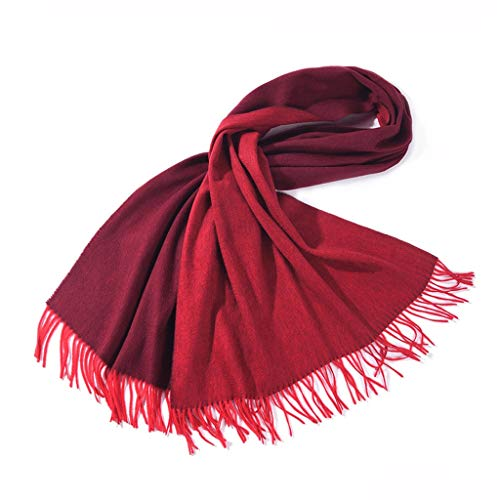 Moda Bufanda Chal de las mujeres de la bufanda de lana largo de la borla de la bufanda del invierno del otoño invierno de doble cara en color Manta Moda Mantón Bufanda acogedora ( Color : Red )