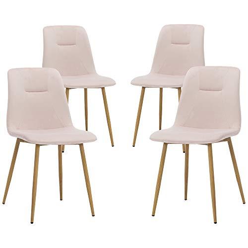 Teraves Esszimmerstühle, Samt, 4 Stück, weicher Sitz, Küchenstuhl mit stabilen Metallbeinen für Wohnzimmer, Büro, Lounge rose