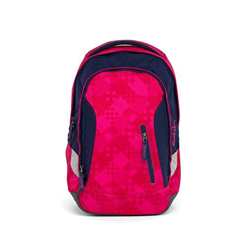 satch Sleek Cherry Checks, ergonomischer Schulrucksack, 24 Liter, extra schlank, Lila/Pink