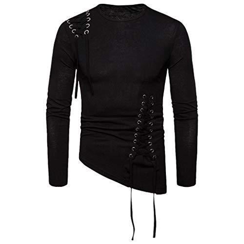 Xmiral Sweatshirt Pullover Herren Einfarbig Unregelmäßig Schnürung Tops Hemd Lange Ärmel Rundhals Tops Sportbekleidung(Schwarz,M)