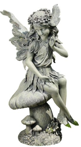 Napco Seated Angel on Mushroom Garden Statue, 16-1/2-Inch Tall by 8-1/2-Inch Diameter -  19943