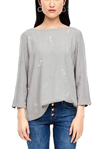 s.Oliver Damen 14.912.19.2880 Bluse, Grey Melange Embroidery, (Herstellergröße:40)