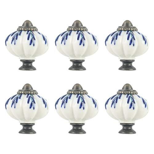 sourcing map Keramikknopf Runde Stoßgriff Möbel Schublade Schrank Kleiderschrank Kommode Tür Dekorativ Weiß + Blau 6 Stück