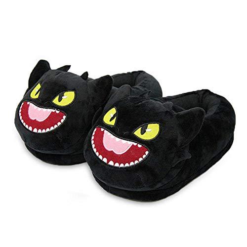 Zapatillas de Estar Por Casa Black My Neighbor Totoro Pantuflas de Felpa Animales Dibujos Animados Mujeres Invierno Muebles Para Hogar Calidez Ocio Zapatos Piso Negro Rojo Boca Talla Única (35-42)