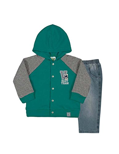 Baby Boy Outfit Hoodie Jacket and Jeans Denim Pants Set 6-9 Months - Navy Blue