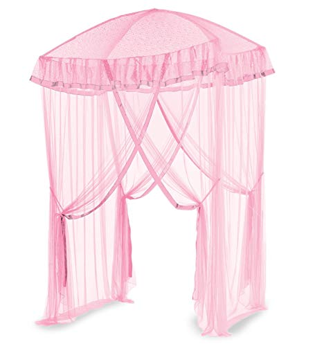 """HearthSong Sparkling Lights Light-Up Bed Canopy for Twin, Full, or Queen Beds, 58"""" L x 50"""" W. Pink"""