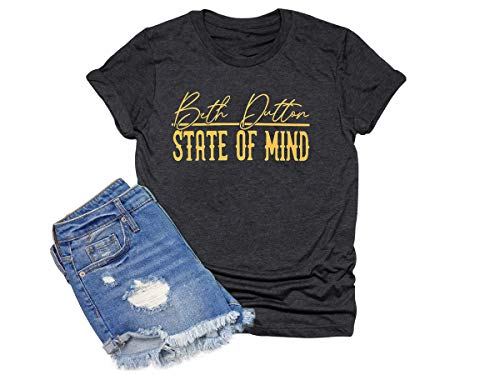 Beth Dutton Shirt Women Funny Letters Graphic Short Sleeve Country Music Tee Top (Black, M)