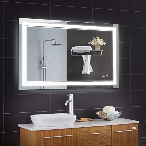 Keonjinn 40 x 24 Inch Bathroom LED Vanity Mirror Anti-Fog Dimmable Large -