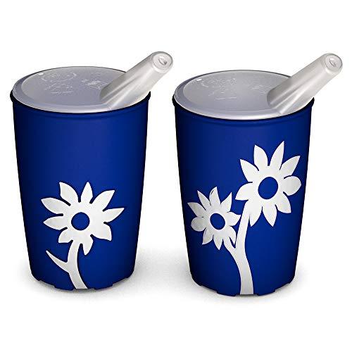 Ornamin Becher mit Anti-Rutsch Blume 220 ml blau/weiß und Schnabelaufsatz 2er-Set (Modell 820 + 806) / Schnabelbecher, Trinkbecher, Kinderbecher