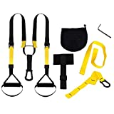 MEEQIAO Suspension Training Set, Professional Gym Fitness Training Straps, Perfect for Travel and Working Out Indoors & Outdoors (Yellow)