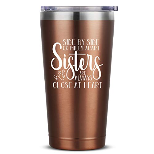 Sisters Are Always Close At Heart - 16 oz Rose Gold Insulated Stainless Steel Tumbler w/ Lid for Women - Birthday Christmas Gift Present Ideas for Sister from Sister - Personalized Adult Presents Gift