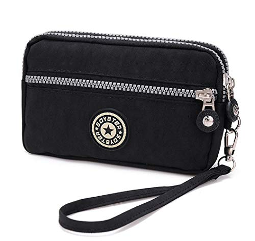 Women's Canvas Cell Phone Wristlets Bag Workout Phone Clutch Wallets Purse Zip Handbag for Samsung Galaxy S10 S9 S8 Plus Note 9 Note 8 LG V40 ThinQ Stylo 4 Motorola Moto G7 Fit with Case On(Black)