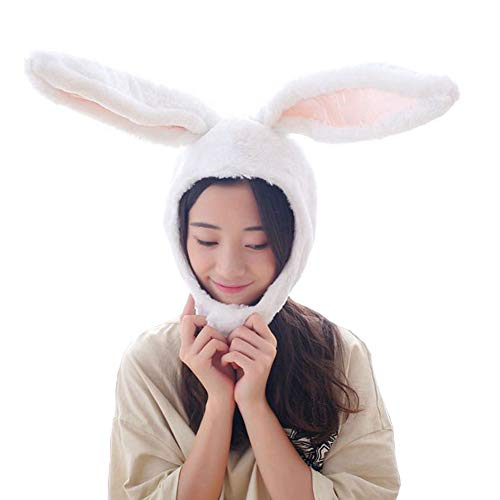 Cuteboom Rabbit Hat Eastern Bunny Hat Bunny Ears Funny Party Hats Holiday Hat Cute Costume for Men and Women (White)