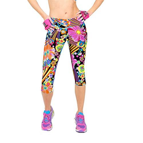 Amlaiworld Damen Sport Leggings Yoga Hose Laufhose Fitnesshose Jogginghose Gemustert High Waist Hüftlift Kurz geschnittene Trainingshose S-XL