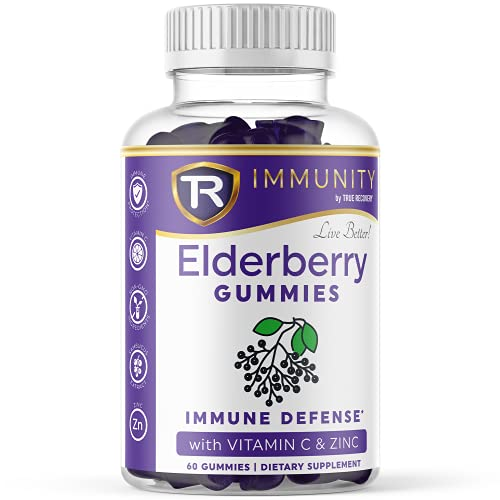 True Recovery's 100 mg Elderberry Gummies for Adults | Herbal Supplements with Vitamin C and Black Elderberry | Plant Based Pectin, Vegetarian and Vegan Friendly | 60 Count Immune Support Gummies