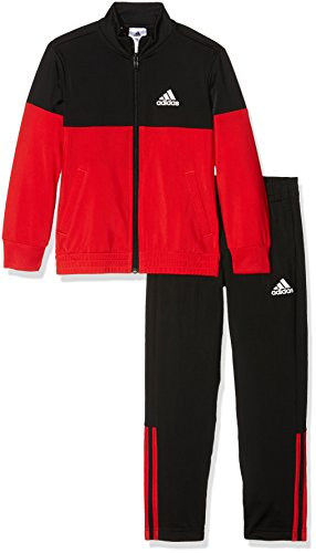 adidas Jungen Tiberio Trainingsanzug, Top:Vivid Red/Black Bottom:Black/White, 128