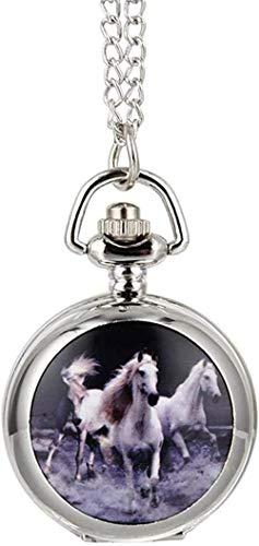Ahuyongqing Co.,ltd Reloj de Bolsillo para Mujer, Hombre, Reloj de Bolsillo de Cuarzo, aleación, Carreras de Caballos, Vintage, señora, suéter, Cadena, Collar, Colgante, Reloj, Regalos