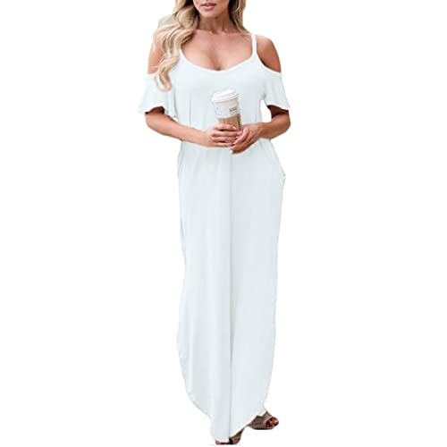 White Cold Shoulder Maxi Plus Size Dress: Amazon.com