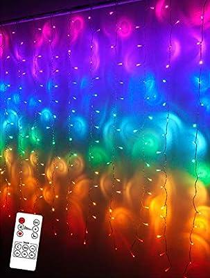Rainbow LED String Curtain Lights with Remote, USB Fairy Rainbow Icicle Lights for Girls Room, Kids Room, Mermaid Decor, Christmas Décor, Unicorn Décor, Birthday, Party Décor(Premium Version)