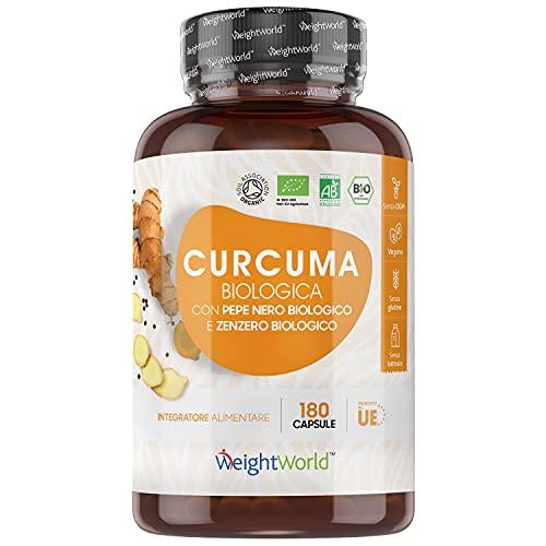 Bio Curcuma Piperina Zenzero - Formula Forte 1520mg - 180 Capsule Vegane (3 Mesi di Fornitura) - Curcuma e Piperina Plus - Curcuma Integratore Biologico Certificato - Curcuma Capsule Senza Glutine
